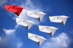 Aviones del papel de concepto de la dirección Imágenes de archivo libres de regalías