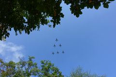 Aviones en el airshow Foto de archivo libre de regalías