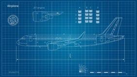 Aviones en estilo del esquema Modelo del avi?n civil Vista lateral del aeroplano Gr?fico industrial Jet Engine stock de ilustración