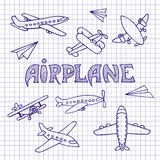 Aviones en una hoja del cuaderno Fotografía de archivo