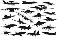 Aviones militares fijados ilustración del vector