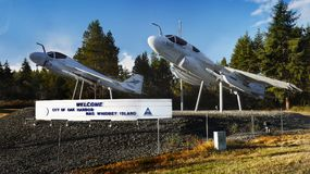 Aviones, puerto del roble, isla de Whidbey, Washington imágenes de archivo libres de regalías