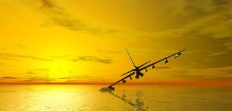 Aviones que causan un crash en el mar stock de ilustración