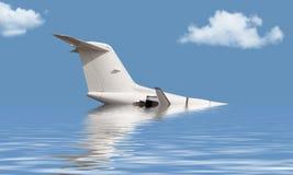 Aviones que se hunden en el océano Fotos de archivo libres de regalías