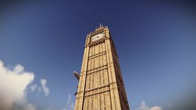Aviones que vuelan sobre Big Ben en la cantidad de Londres stock de ilustración