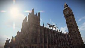 Aviones que vuelan sobre el palacio de Westminster en la cantidad de Londres stock de ilustración