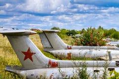 Aviones viejos en el arbusto de baya del saúco, aero- instructor militar checoslovaco del jet de L-29 Delfin Maya Fotos de archivo libres de regalías