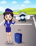 Aviones y muchacha con equipaje Imagen de archivo libre de regalías