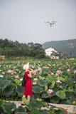 Aviones y mujer con el backgroung del loto Fotos de archivo libres de regalías