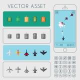 Aviones y sistema de unidades de los tanques Activo del juego del vector libre illustration