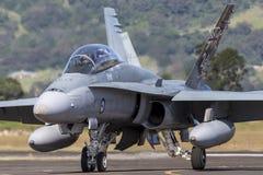 Avions à réaction de frelon de l'Armée de l'Air d'Australien royal RAAF McDonnell Douglas F/A-18B A21-110 à l'aéroport régional d Photographie stock libre de droits