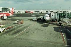 Avions à réaction de la ligne aérienne Air Asia Photos libres de droits