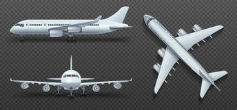 Avions, avion, avion de ligne dans l'ensemble différent de vecteur de point de vue illustration stock