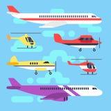 Avions, avion, avion, ensemble plat de vecteur d'icônes d'hélicoptère illustration libre de droits