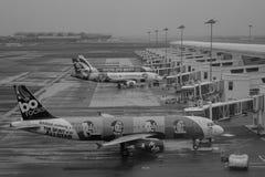 Avions civils s'accouplant dans l'aéroport de Changi, Singapour Photographie stock libre de droits