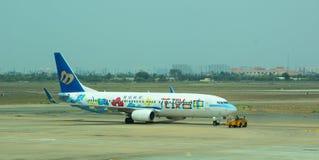 Avions civils se garant à l'aéroport de Tan Son Nhat International Image stock