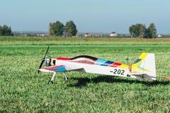Avions commandés par radio avec le moteur de méthanol Photographie stock libre de droits