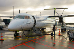 Avions d'air Baltique de société de ligne aérienne de coût bas Image libre de droits