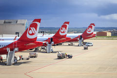 Avions d'Air Berlin chez Palma de Mallorca photos libres de droits