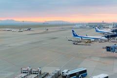 Avions d'ANA dans l'aéroport international Japon de Chubu Centrair Images libres de droits
