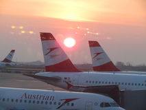 Avions d'Austrian Airlines Image stock