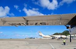 Avions dans l'aéroport de Mahe Photo stock