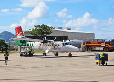 Avions dans l'aéroport de Mahe Photos stock