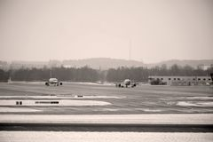 Avions dans l'aéroport de Munich, ressort Image stock