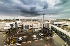 Avions de Jumbo de British Airways chez Heathrow Images libres de droits