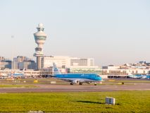 Avions de KLM à l'aéroport d'Amsterdam Schiphol les Pays-Bas, Images libres de droits