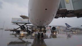 Avions de Korean Air avec le pont d'embarquement et le chargeur de récipient banque de vidéos
