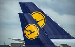 Avions de Lufthansa sur le terminal de l'International A de Francfort Photos stock