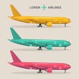 Avions de vecteur réglés Illustrations d'aviation dans le style plat Collection différente de jets de couleurs Photographie stock libre de droits