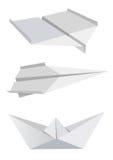 Avions et bateau de papier illustration de vecteur