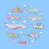Avions et x28 ; balloon& x29 d'air ; dans l'illustration de cercle d'ensemble de ciel Photo stock