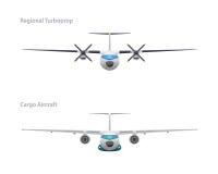 Avions régionaux de turbopropulseur et de cargaison Photos stock