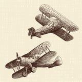 Avions tirés par la main réglés photos libres de droits