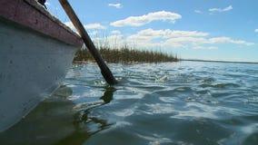 Aviron barbotant dans l'eau banque de vidéos
