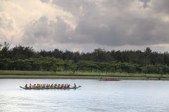 Aviron du bateau sur le festival de boulettes de riz Photo libre de droits