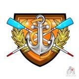 Avirons croisés modernes pour ramer avec l'ancre au milieu de la guirlande d'or de laurier sur le bouclier sur le blanc Logo de s illustration libre de droits