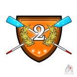 Avirons croisés modernes pour ramer avec le numéro deux au milieu de la guirlande d'or de laurier sur le bouclier Logo de sport p illustration libre de droits