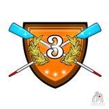Avirons croisés modernes pour ramer avec le numéro trois au milieu de la guirlande d'or de laurier sur le bouclier Logo de sport  illustration de vecteur
