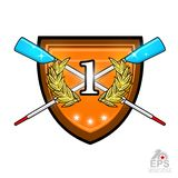 Avirons croisés modernes pour ramer avec le numéro un au milieu de la guirlande d'or de laurier sur le bouclier Logo de sport pou illustration de vecteur