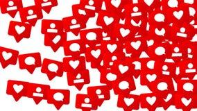 Avis avec des goûts, des disciples et des commentaires Concept pour la conception sociale de media Photographie stock