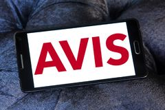 Avis car rental company logo. Logo of Avis car rental company on samsung mobile. Avis is an American car rental company royalty free stock images