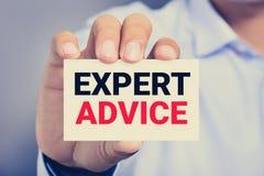 AVIS D'EXPERT, message sur la carte de visite professionnelle de visite Image libre de droits