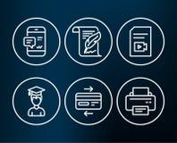 Avis de Smartphone, icônes de fichier vidéo et d'étudiant Carte de crédit de plume, et signes d'imprimante Photos libres de droits