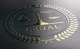 Avis juridique, échelles de la justice, symbole d'or de loi au-dessus de PA noire illustration libre de droits