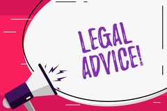Avis juridique des textes d'?criture de Word Concept d'affaires pour des conseils professionnels qui est fourni par l'avocat prof illustration de vecteur