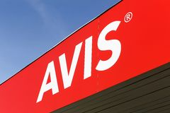 Avis-Logo auf einer Wand Lizenzfreies Stockbild